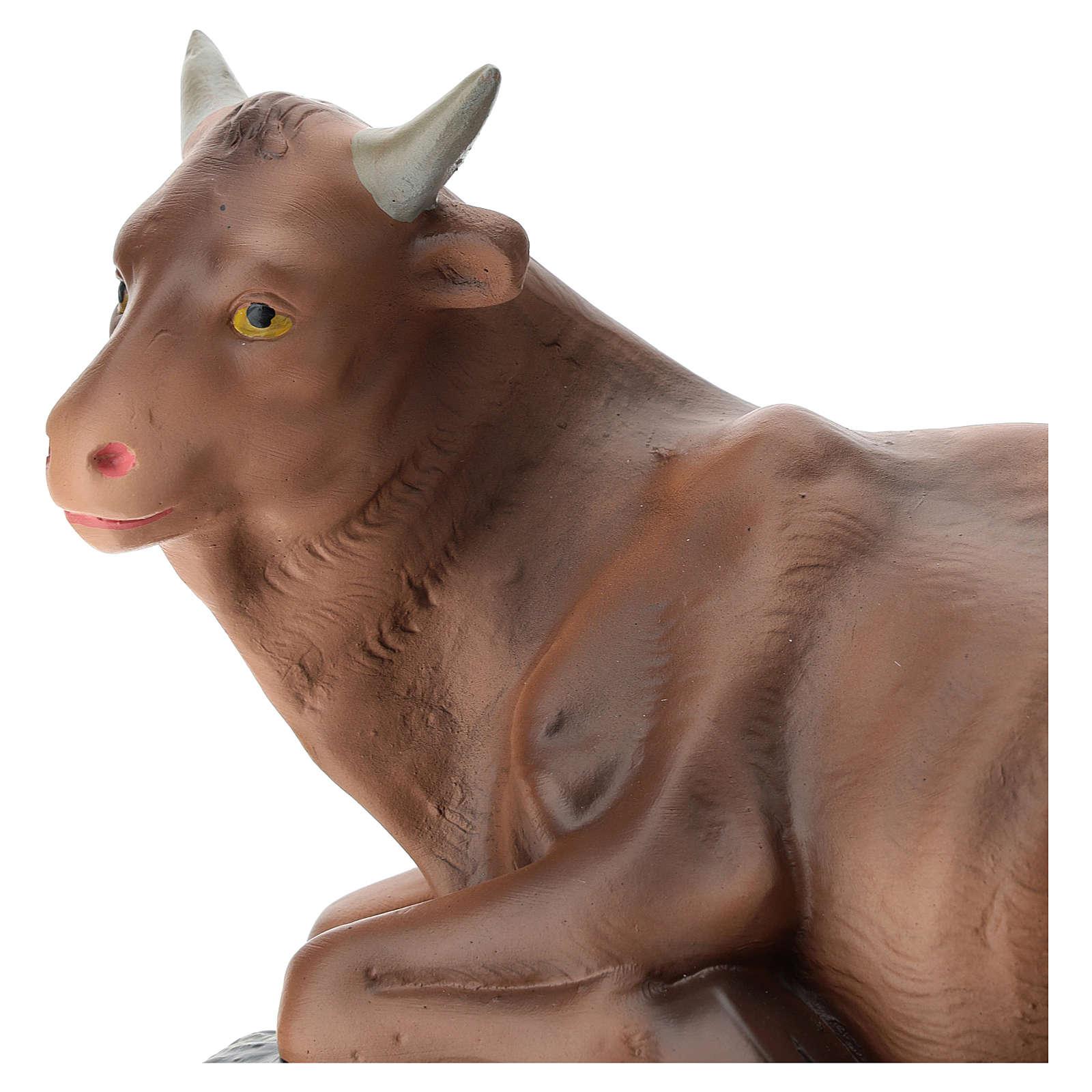 Estatua buey yeso coloreado para belén de Arte Barsanti 40 cm 4