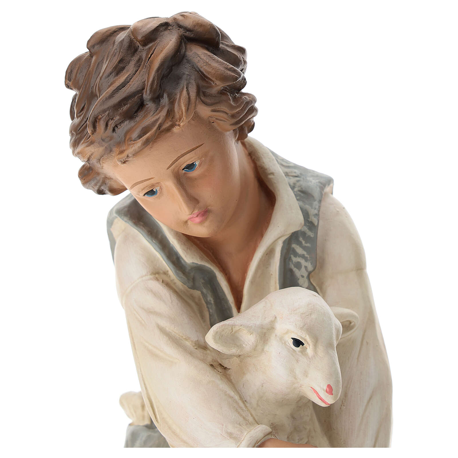 Kneeling shepherd with sheep in plaster for Arte Barsanti Nativity Scene 40 cm 4