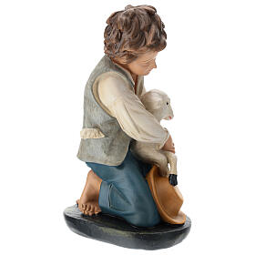 Kneeling shepherd with sheep in plaster for Arte Barsanti Nativity Scene 40 cm s4