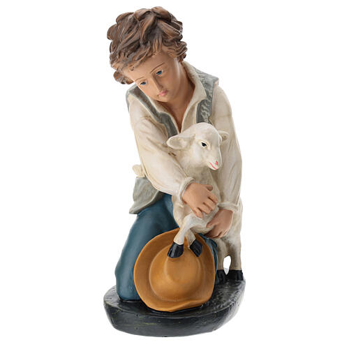 Kneeling shepherd with sheep in plaster for Arte Barsanti Nativity Scene 40 cm 1