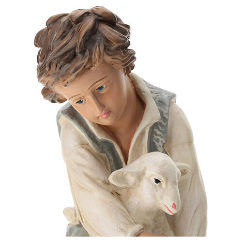 Kneeling shepherd with sheep in plaster for Arte Barsanti Nativity Scene 40 cm 2