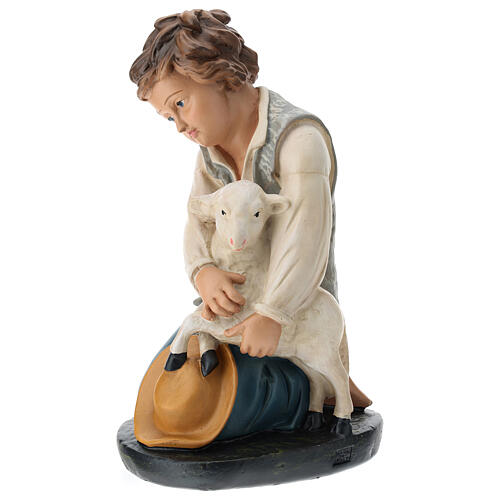 Kneeling shepherd with sheep in plaster for Arte Barsanti Nativity Scene 40 cm 3