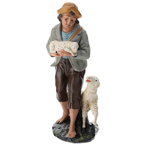 Berger et moutons plâtre coloré pour crèche 40 cm Arte Barsanti 1