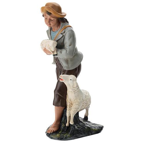Berger et moutons plâtre coloré pour crèche 40 cm Arte Barsanti 3