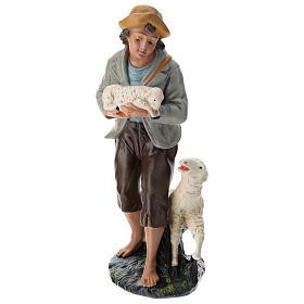 Statua pastore e pecore 40 cm gesso dipinto a mano Arte Barsanti s1