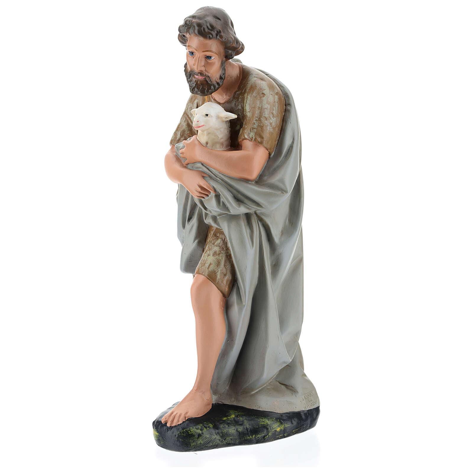 Shepherd holding a sheep in plaster for Arte Barsanti Nativity Scene 40 cm 4