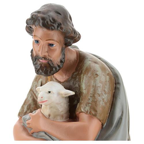 Shepherd holding a sheep in plaster for Arte Barsanti Nativity Scene 40 cm 2