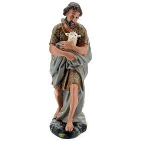 Berger avec mouton à bras plâtre coloré pour crèche 40 cm Arte Barsanti s1