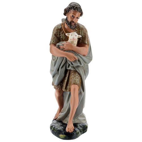 Berger avec mouton à bras plâtre coloré pour crèche 40 cm Arte Barsanti 1