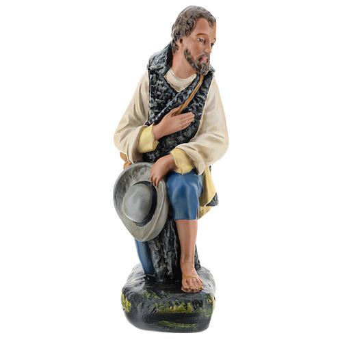 Pastore in ginocchio con cappello presepe Arte Barsanti 40 cm 1