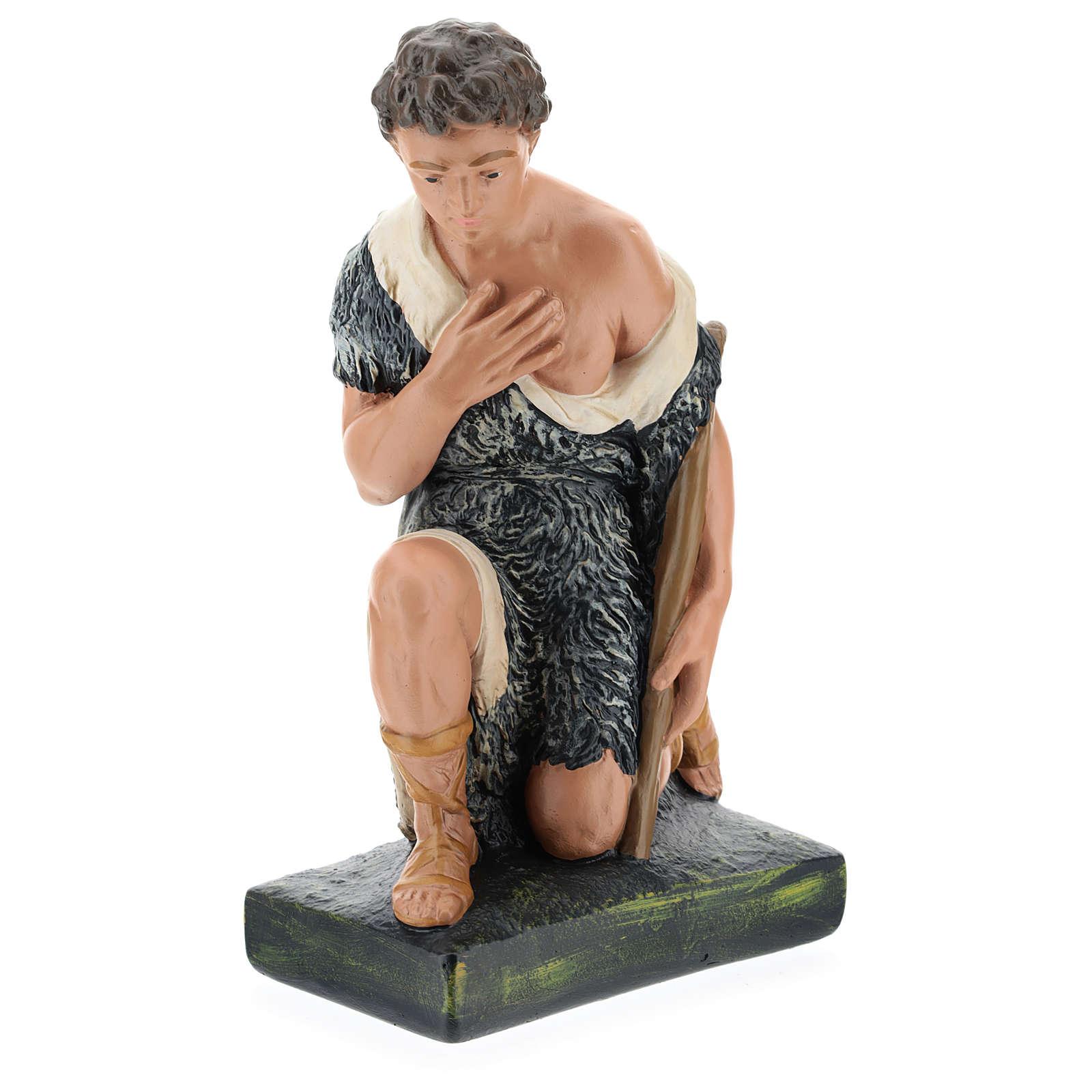 Estatua pastor con bastón de rodillas belén 40 cm Barsanti 4