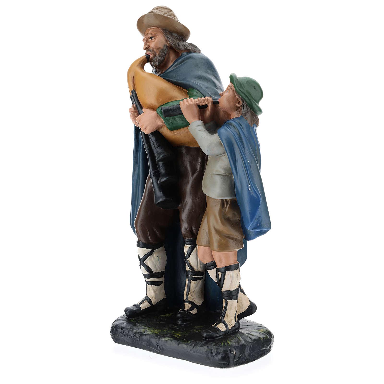 Estatua gaitero con niño 40 cm yeso Arte Barsanti 4