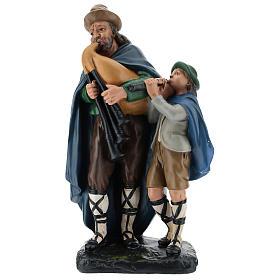 Estatua gaitero con niño 40 cm yeso Arte Barsanti s1