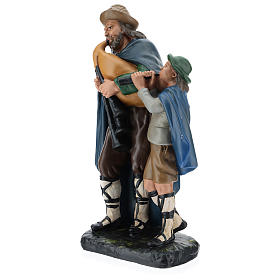 Estatua gaitero con niño 40 cm yeso Arte Barsanti s3