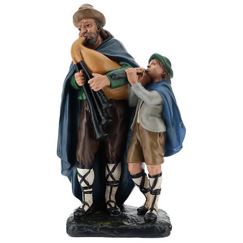 Estatua gaitero con niño 40 cm yeso Arte Barsanti 1