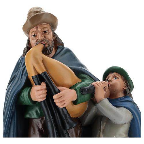 Estatua gaitero con niño 40 cm yeso Arte Barsanti 2