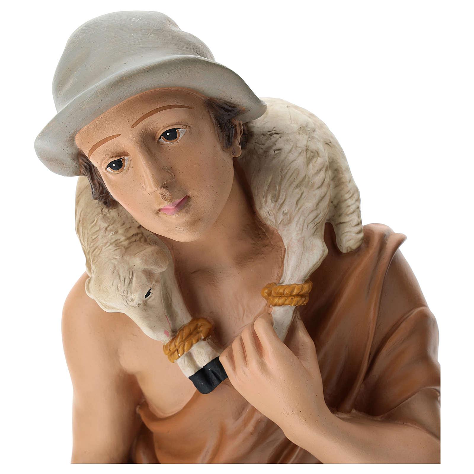 Statua pastore con pecorelle 60 cm 4