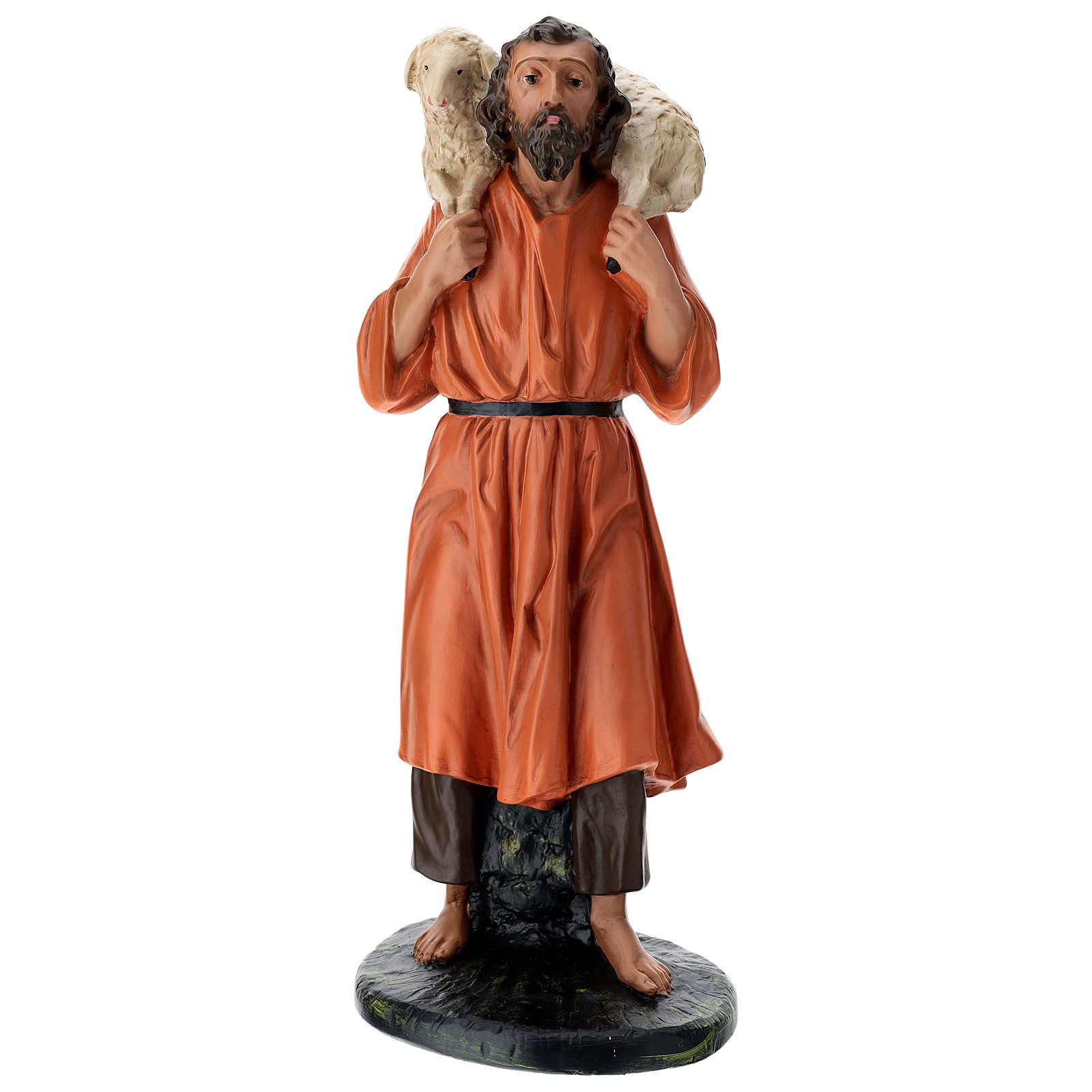 Estatua pastor y oveja sobre las espaldas 60 cm Arte Barsanti 4