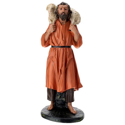Estatua pastor y oveja sobre las espaldas 60 cm Arte Barsanti 1
