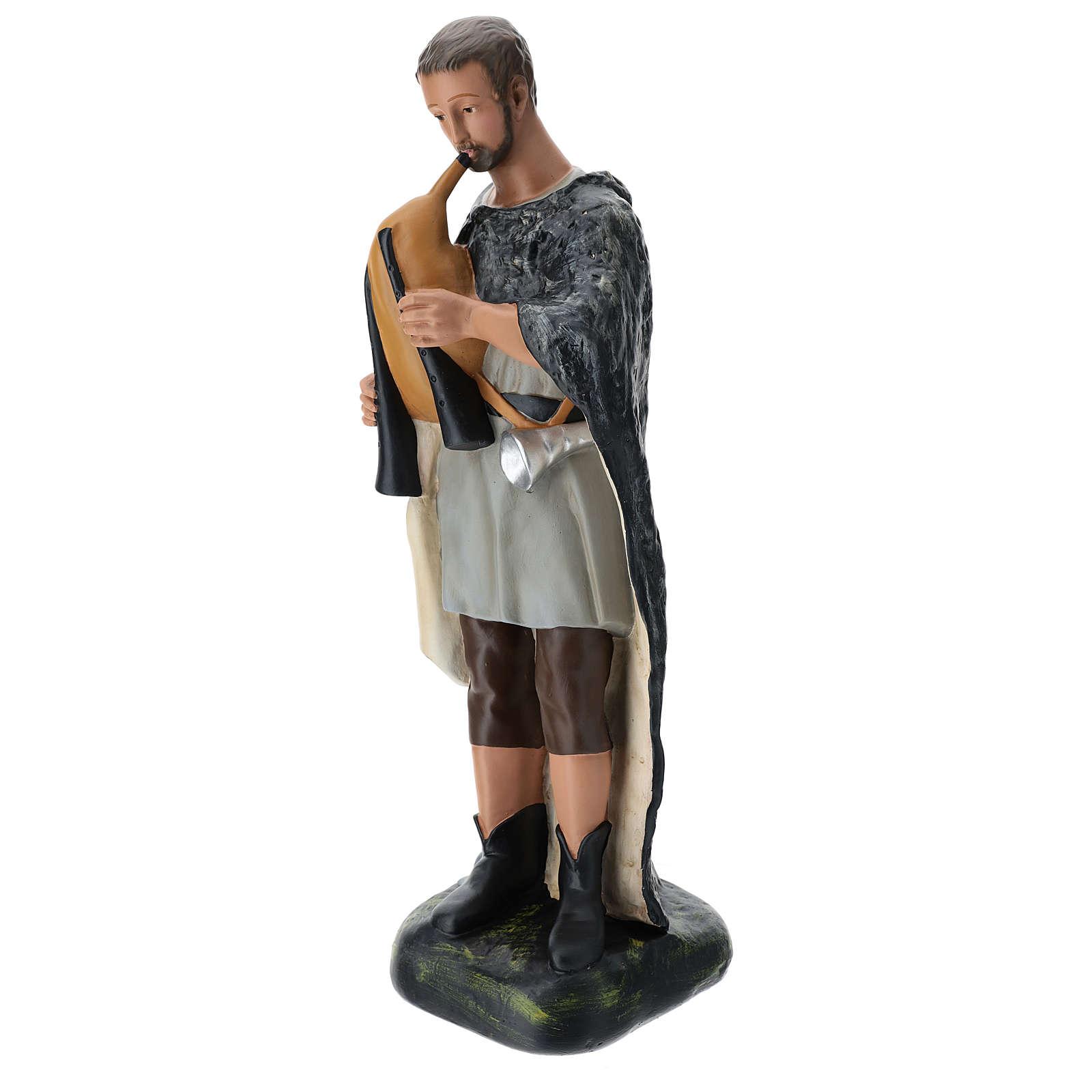 Pastore con zampogna gesso dipinto presepe 60 cm Arte Barsanti 4