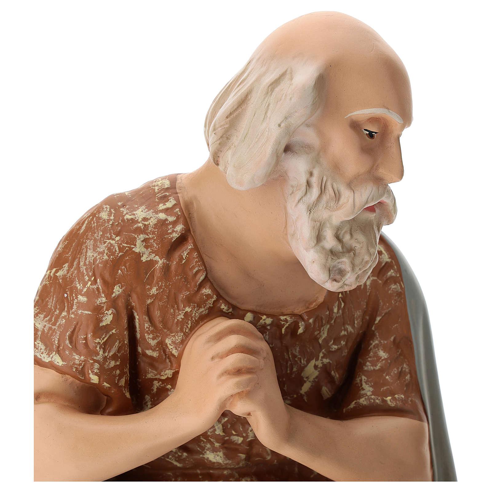 Statua pastore anziano seduto presepe Arte Barsanti 60 cm 4