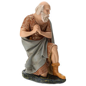 Statua pastore anziano seduto presepe Arte Barsanti 60 cm s4
