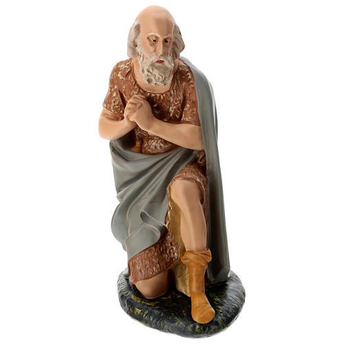 Statua pastore anziano seduto presepe Arte Barsanti 60 cm 1
