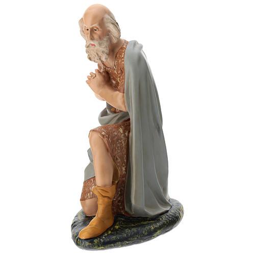 Statua pastore anziano seduto presepe Arte Barsanti 60 cm 3