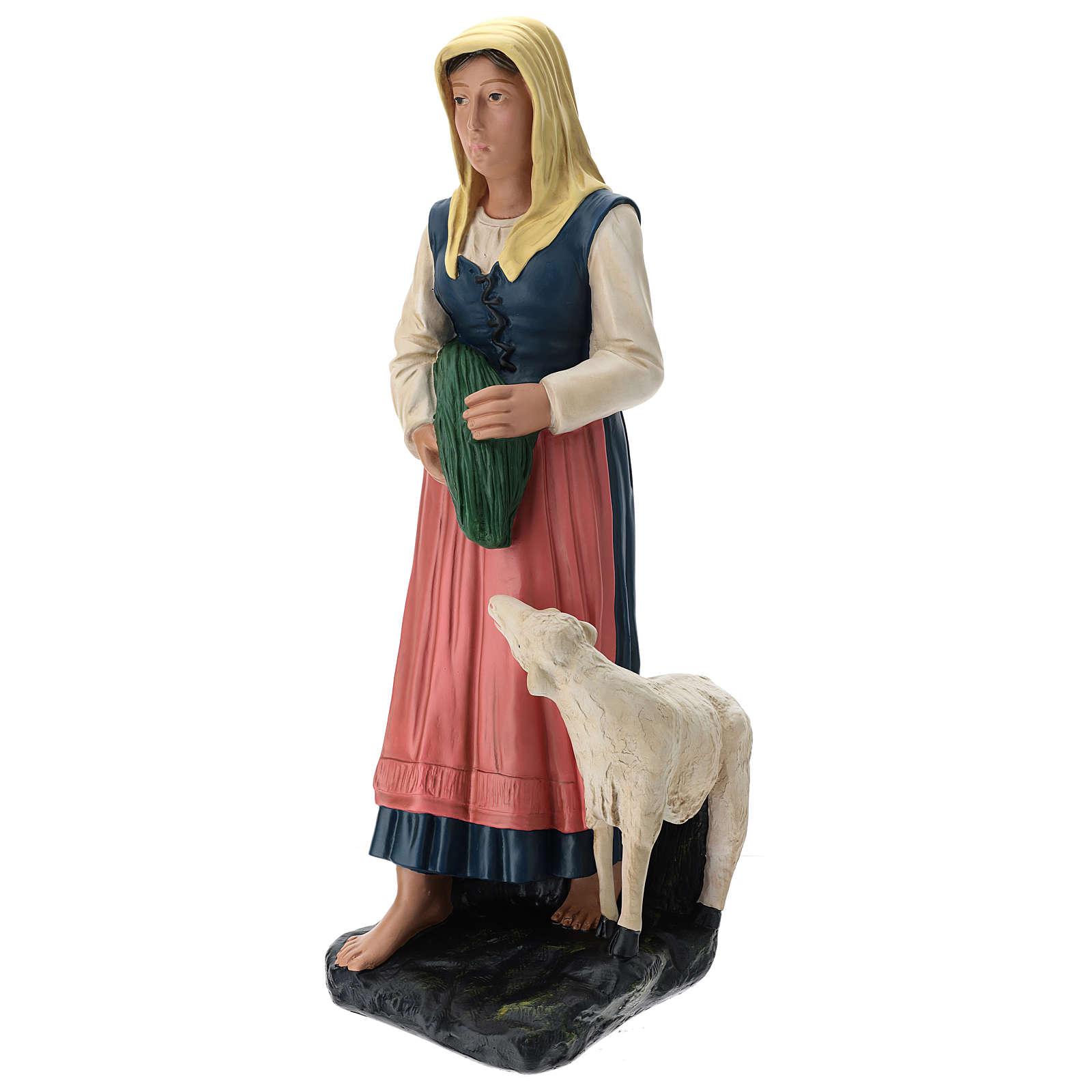 Estatua pastora con verdura y oveja 60 cm Arte Barsanti 4