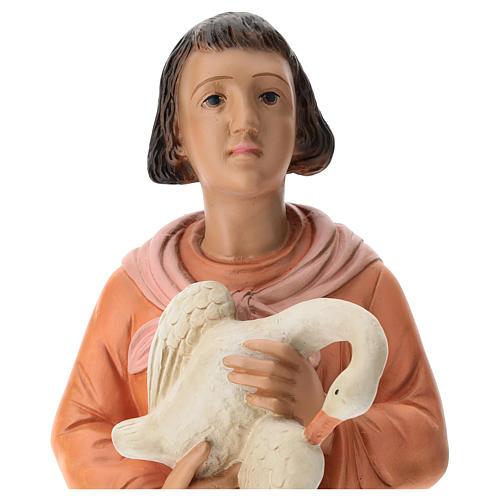 Estatua mujer con ganso pintado belén Arte Barsanti 60 cm 2