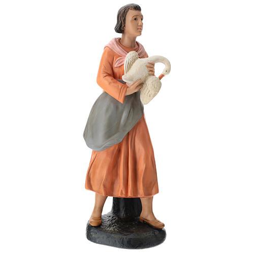 Estatua mujer con ganso pintado belén Arte Barsanti 60 cm 4