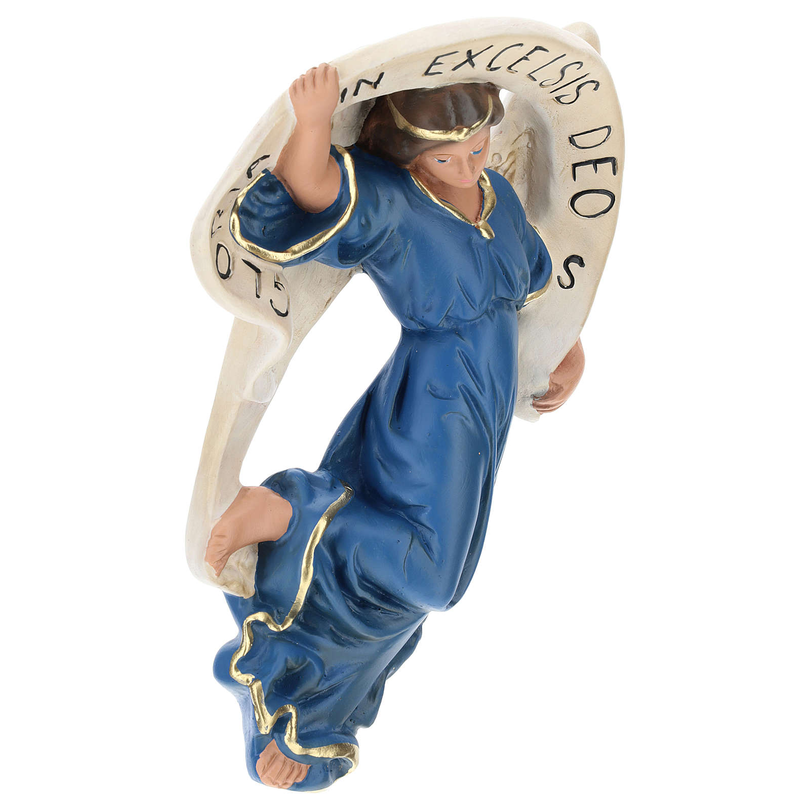 Statua Angelo Gloria veste azzurra presepe 80 cm Arte Barsanti 4