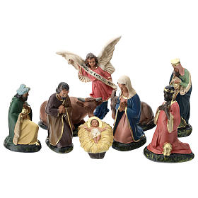 Arte Barsanti Nativity Scene with 9 hand-painted characters in plaster 15 cm s1