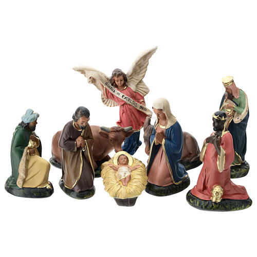 Arte Barsanti Nativity Scene with 9 hand-painted characters in plaster 15 cm 1