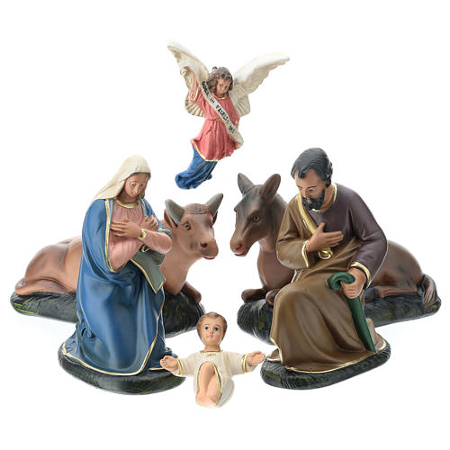 Arte Barsanti Nativity Scene with 6 hand-painted characters in plaster 20 cm 1