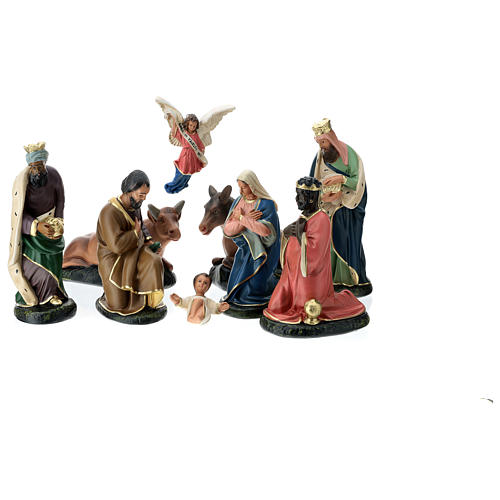 Arte Barsanti Nativity Scene with 9 hand-painted characters in plaster 20 cm 1