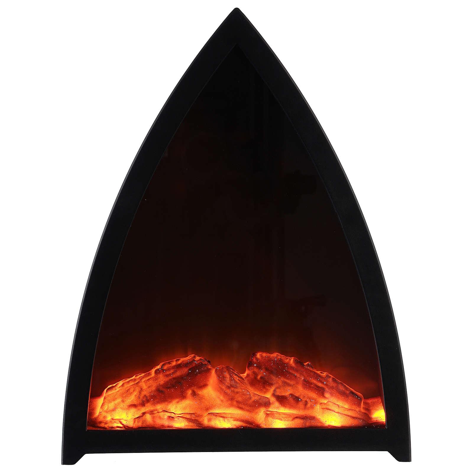 Cheminée avec feu LED triangulaire 35x30x10 cm 3