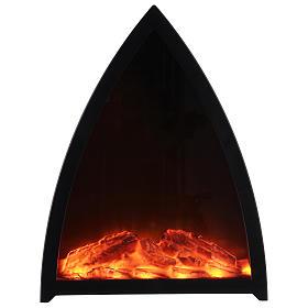 Cheminée avec feu LED triangulaire 35x30x10 cm s1
