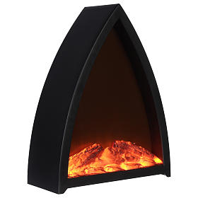 Cheminée avec feu LED triangulaire 35x30x10 cm s3