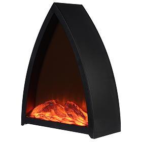 Caminetto Led con fuoco Led triangolare 35x30x 10 cm s2