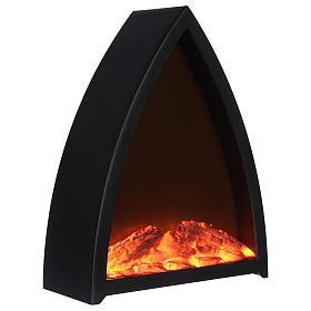 Caminetto Led con fuoco Led triangolare 35x30x 10 cm s3