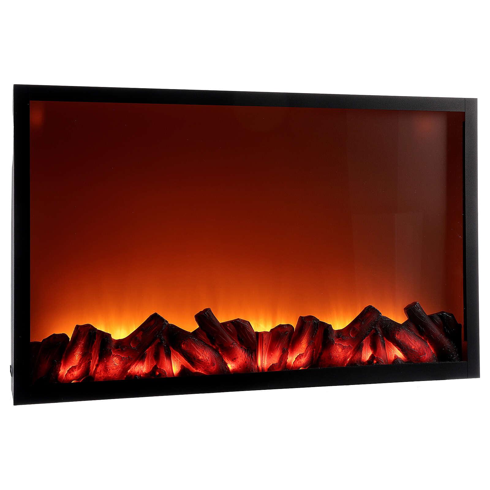 Lareira decorativa preta com luz LED efeito chama 50x81x12 cm 3