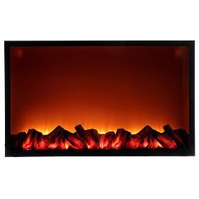 Lareira decorativa preta com luz LED efeito chama 50x81x12 cm s1