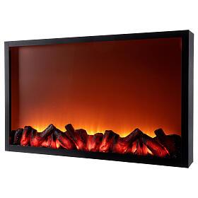 Lareira decorativa preta com luz LED efeito chama 50x81x12 cm s2