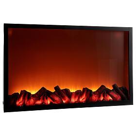 Lareira decorativa preta com luz LED efeito chama 50x81x12 cm s3