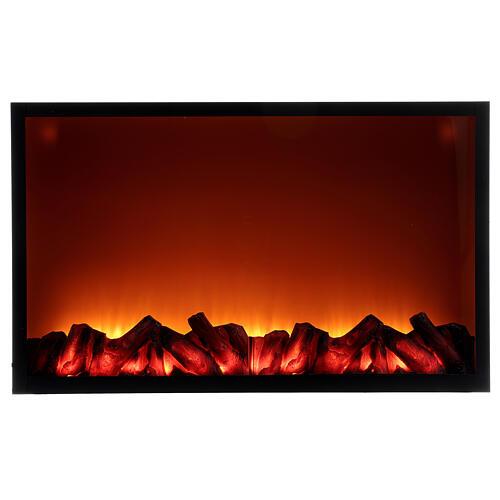 Lareira decorativa preta com luz LED efeito chama 50x81x12 cm 1