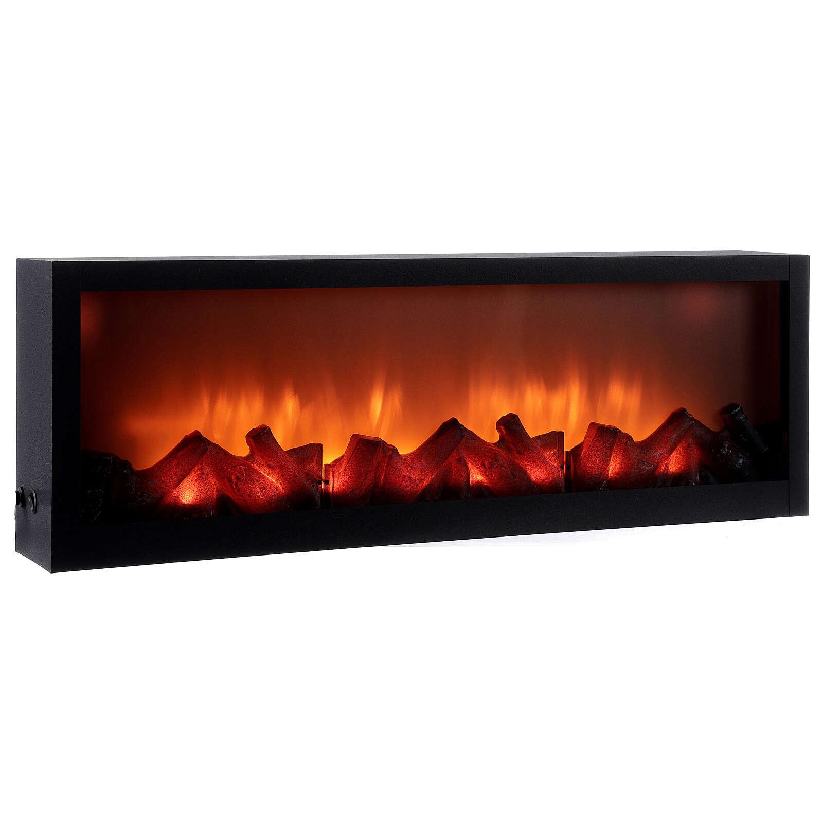 Cheminée LED rectangulaire effet flamme 20x80x10 cm 3