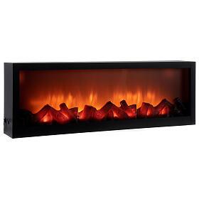 Cheminée LED rectangulaire effet flamme 20x80x10 cm s3