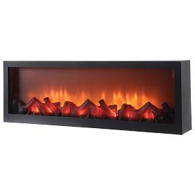 Caminetto led rettangolare effetto vero fuoco 20x80x10 cm s2