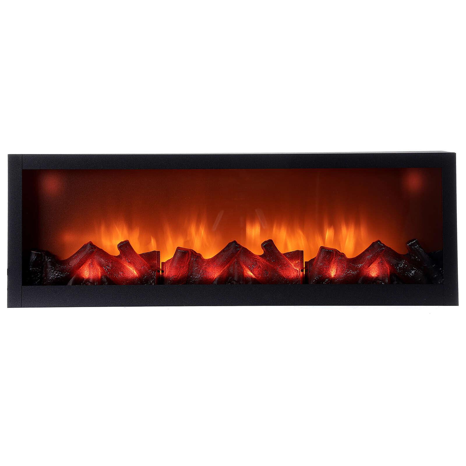 Lareira decorativa retangular com luz LED efeito chama 20x80x10 cm cm 3